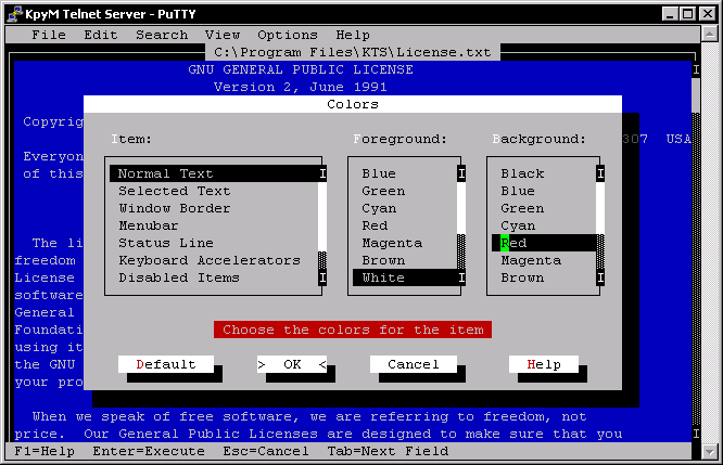 Click to view KpyM Telnet/SSH Server 1.19a screenshot